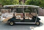 6 seater transporter or golf car with 4 section roof